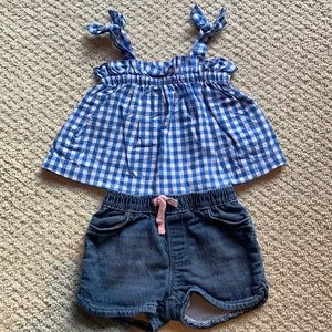 Gap Baby Girl Gingham Top and Jean Shorts
